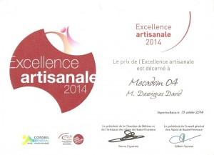 Diplôme remis lors de la remise du prix de l'Excellence artisanale 2014