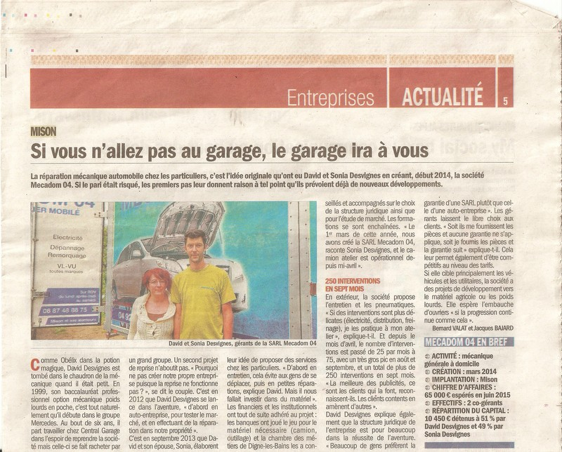 Article du 04 novembre 2014, supplément économique du Dauphiné